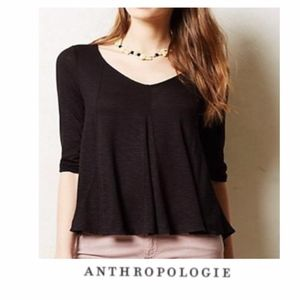 [Anthropologie] Deletta Black Flowy Blouse Size XS
